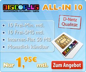 rec Smartphone Tarif: 10 Minuten & SMS mtl. + Internetflat (50MB) für 1,95€ im Monat ohne Mindestvertragslaufzeit