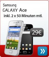 Samsung Galaxy Ace Inklusive 2 x 50 Freiminuten mtl.