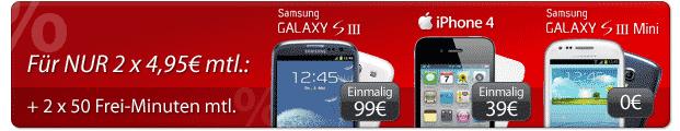 Für nur 2 x 4,95 Euro mtl. + 2 x 50 Frei-Minunten mtl.