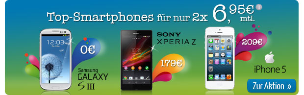 Top smartphones for just 2 x 6.95 euros per month