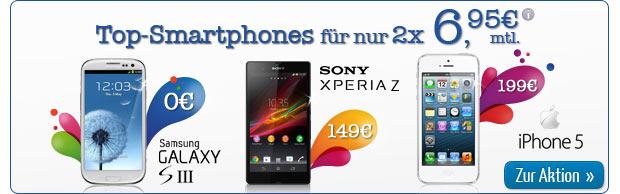 Top-Smartphones nur 2 x 6,95 Euro mtl.