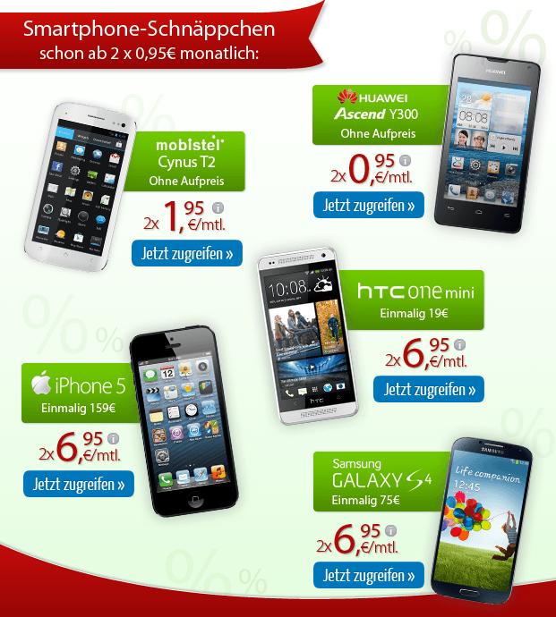 Weitere Smartphone-Schnäppchen schon ab 2 x 0,95 Euro monatlich