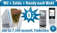 Nintendo Wii inkl. Wii Sports, Handy, Nintendo ZELDA Wii und debitel T-Mobile direct top
